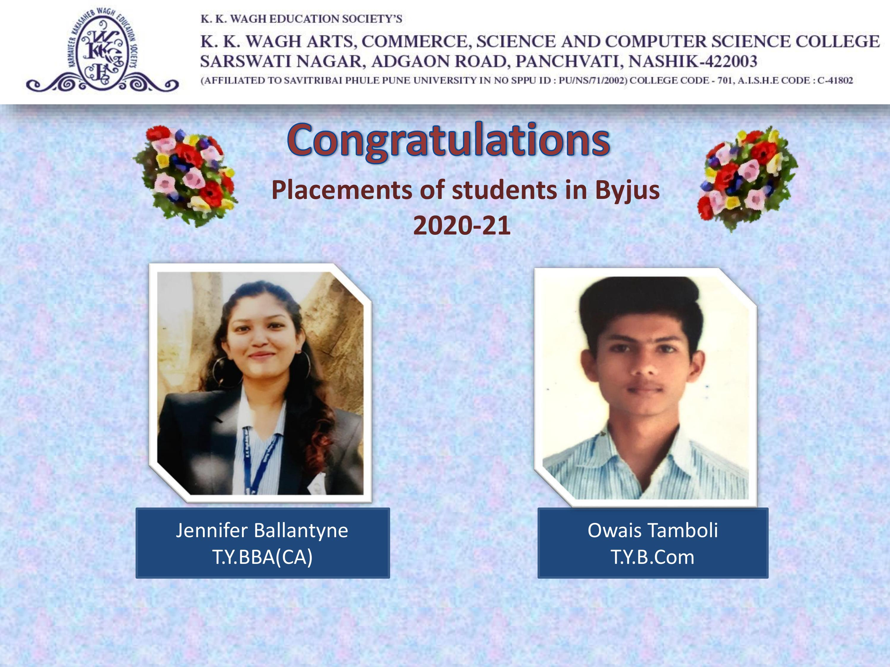 Placements of Students 2020-21
